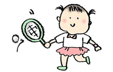 テニスラケットを振るかわいい女の子のイラスト・無料素材・フリー