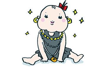 無料イラスト・フリー素材・かわいい手描き・おしゃれ・アクセサリー・派手・キラキラ・赤ちゃん・子ども