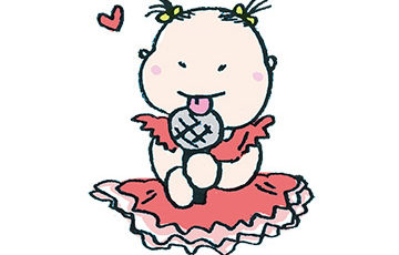 無料イラスト・フリー素材・かわいい手描き・アイドル・ドレス・フリフリ・赤ちゃん・子ども・マイク・カラオケ・歌う