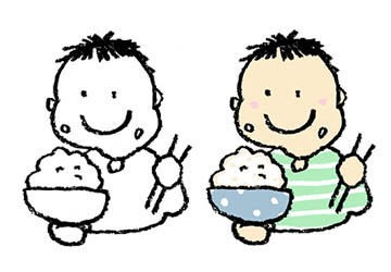 お茶碗でご飯を食べる男の子、食育、ごはん、食事、無料素材、フリーイラスト、子ども、かわいい手書き素材