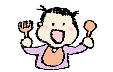 お茶碗食事をする女の子、食育、ごはん、食事、無料素材、フリーイラスト、子ども、かわいい手書き素材