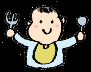 お茶碗食事をする男の子、食育、ごはん、食事、無料素材、フリーイラスト、子ども、かわいい手書き素材