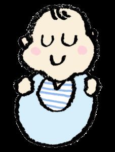 眠る・フリーイラスト・かわいい手書き・無料素材・赤ちゃん・ベビー・ねんね・男の子