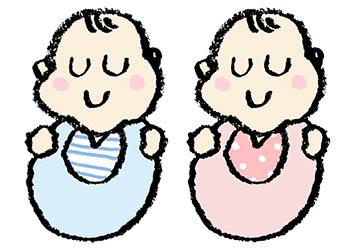 眠る・フリーイラスト・かわいい手書き・無料素材・赤ちゃん・ベビー・ねんね・双子