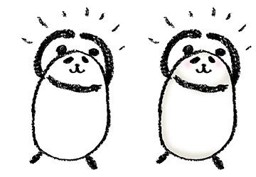 パンダ・手書きイラスト・フリー・無料・ゆるい・かわいい・OK・まる・喜ぶ・笑顔・ニッコリ