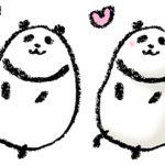 パンダ・手書きイラスト・フリー・無料・ゆるい・かわいい・ほんわか・ご機嫌・嬉しい・ハート