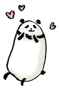 パンダ・手書きイラスト・フリー・無料・ゆるい・かわいい・ほんわか・ご機嫌・嬉しい・ハート・ハッピー・ときめき