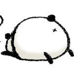パンダ・手書きイラスト・フリー・無料・ゆるい・かわいい・お尻・後ろ姿・寝る・倒れる