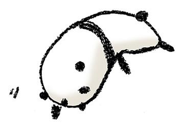 パンダ・手書きイラスト・フリー・無料・ゆるい・かわいい・寝る・倒れる・もたれる・だらしない・やる気がない