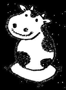 丑・うし・牛・イラスト・手書き・可愛い・年賀状・干支・2021年・フリー・シンプル・だるまみたい・ゆるかわいい
