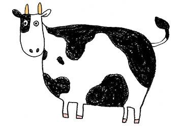 丑・うし・牛・イラスト・手書き・可愛い・年賀状・干支・2021年・フリー・シンプル・全身・横向き・ゆるかわいい