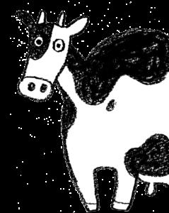 丑・うし・牛・イラスト・手書き・可愛い・年賀状・干支・2021年・フリー・シンプル・横向き・ゆるかわいい