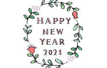 無料・フリー素材・happy new year2021手書き文字・かわいい・おしゃれ・年賀状・花・ボタニカル・ナチュラル・植物