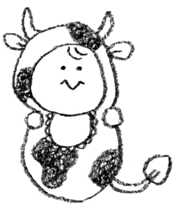 丑・うし・牛・イラスト・手書き・可愛い・年賀状・干支・2021年・フリー・赤ちゃん・着ぐるみ・出産報告・ゆるかわいい・正月