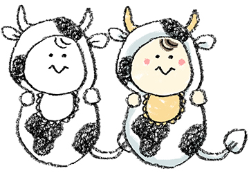 丑・うし・牛・イラスト・手書き・可愛い・コスプレ・年賀状・干支・2021年・フリー・赤ちゃん・着ぐるみ・出産報告・ゆるかわいい・正月