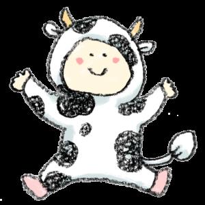 丑・うし・牛・イラスト・手書き・可愛い・年賀状・干支・2021年・フリー・赤ちゃん・子ども・着ぐるみ・出産報告・ゆるかわいい・正月