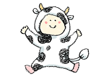 丑・うし・牛・イラスト・手書き・可愛い・年賀状・干支・2021年・フリー・赤ちゃん・子ども・着ぐるみ・出産報告・ゆるかわいい・正月・コスプレ