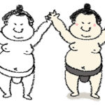 無料イラスト・手書き・可愛い・フリー素材・お相撲さん・力士・相撲取り・相撲・ふんどし・バンザイ