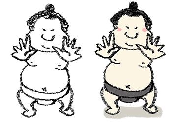 無料イラスト・手書き・可愛い・フリー素材・お相撲さん・力士・相撲取り・相撲・ふんどし・張り手・突っ張り