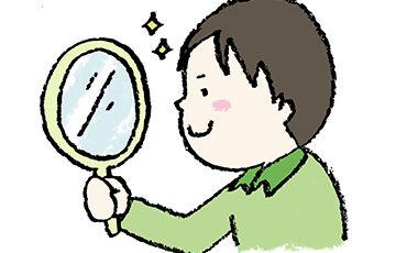 無料イラスト・手書き・可愛い・フリー素材・男の子・手鏡を見る・子ども・モノクロ・ナルシスト