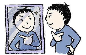 無料イラスト・手書き・可愛い・フリー素材・男の子・鏡を見る・子ども・モノクロ・ナルシスト・キメポーズ