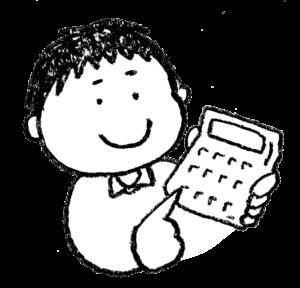 無料イラスト・手書き・可愛い・フリー素材・男の子・電卓で計算する・子ども・モノクロ・算数・数学・勉強