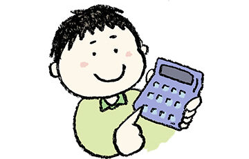 無料イラスト・手書き・可愛い・フリー素材・男の子・電卓で計算する・子ども・モノクロ・算数・数学・勉強・計算