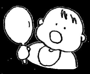 無料イラスト・手書き・可愛い・フリー素材・赤ちゃん・手鏡を見る・子ども・モノクロ・きょとん