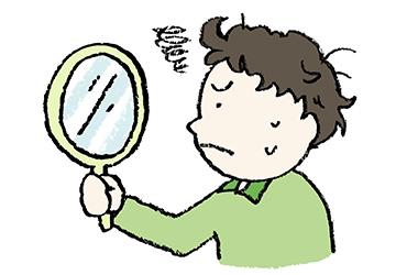 無料イラスト・手書き・可愛い・フリー素材・男の子・手鏡を見る・子ども・モノクロ・寝癖・困った・身だしなみ