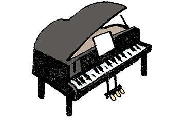グランドピアノ・手書きイラスト・ゆるい可愛い・かわいい・フリー素材・無料・フリーハンド・カラー
