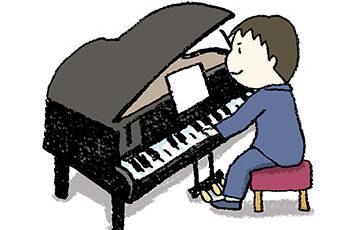 グランドピアノを弾く男の子・子ども・手書きイラスト・ゆるい可愛い・かわいい・フリー素材・無料・発表会・タキシード