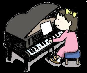 グランドピアノを弾く女の子・子ども・手書きイラスト・ゆるい可愛い・かわいい・フリー素材・無料・発表会