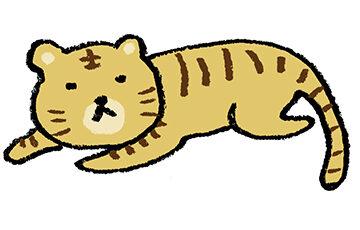トラ・とら・虎・イラスト・手書き・可愛い・年賀状・干支・2022年・フリー・シンプル・ゆるかわいい・正月・タイガー・寝ている・横たわる
