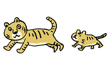 トラ・とら・虎・イラスト・手書き・可愛い・年賀状・干支・2022年・フリー・シンプル・ゆるかわいい・正月・タイガー・走る・仲良し・親子